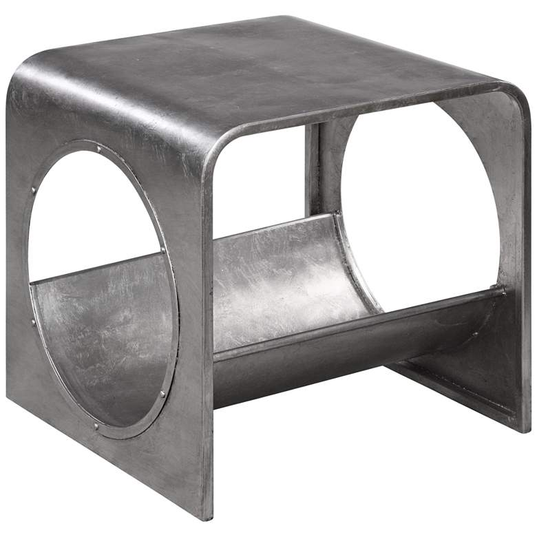 """Yeager 20"""" Wide Silver Leaf Finish Modern End Table"""