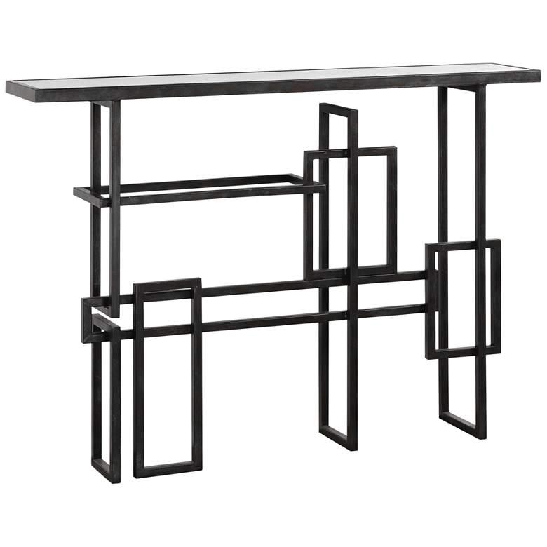 """Dane 48"""" Wide Industrial Steel Geometric Console Table"""