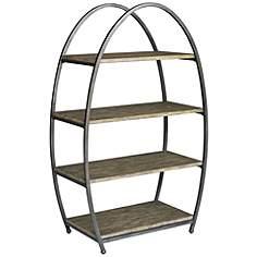 uttermost matisa textured steel egg shape 4 shelf etagere - Steel Bookshelves