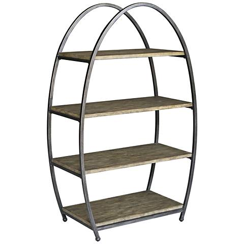 Uttermost Matisa Textured Steel Egg-Shape 4-Shelf Etagere