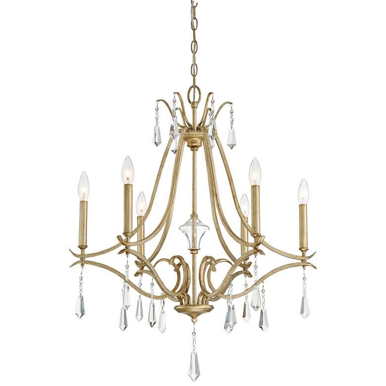 """Laurel Estate 26 3/4"""" Wide Brio Gold 6-Light Chandelier"""