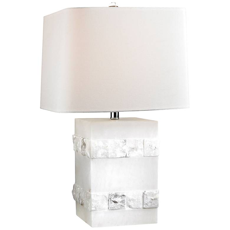 Mystery Cube White Alabaster Stone Block Table Lamp