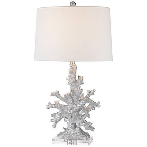 Dimond trunk bay silver faux coral table lamp 9w347 lamps plus dimond trunk bay silver faux coral table lamp aloadofball Images