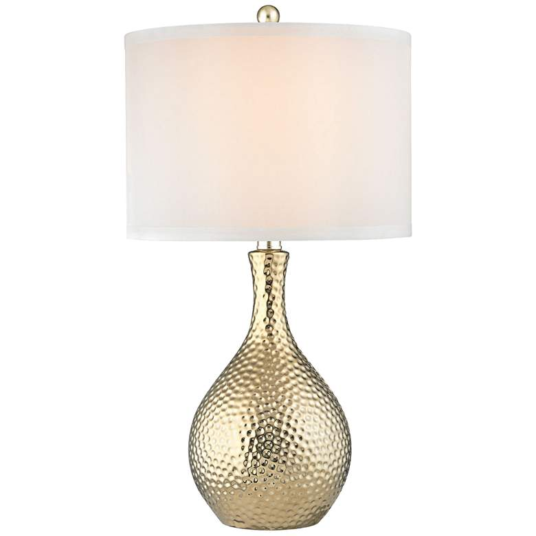 Soleil Gold Plate Hammered Ceramic Table Lamp