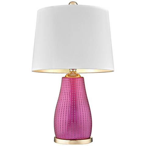 Brigitte Cerise Pink and Gold Table Lamp with White Shade