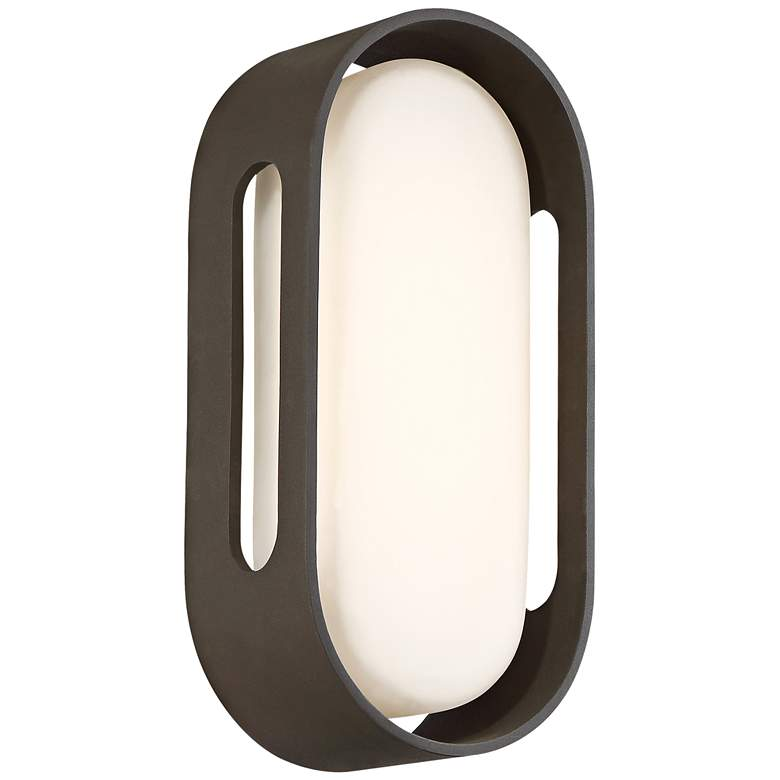 """George Kovacs Floating Oval 11""""H LED Bronze Wall Sconce"""