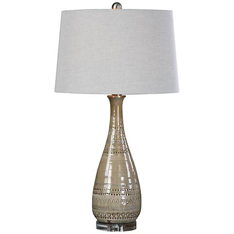Uttermost Nakoda Taupe Embossed Ceramic Table Lamp