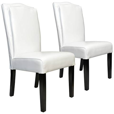 Cambria White Bonded Leather Pillow-Back Chair Set of 2