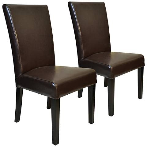 Petra Brown Split Leather Straight-Back Chair Set of 2