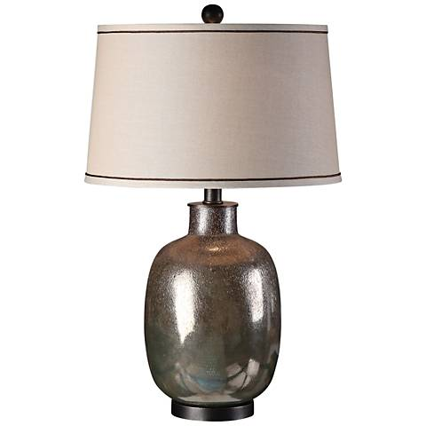 Uttermost Kalamaria Olive-Gray Textured Glass Table Lamp