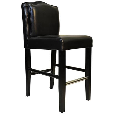 """Cambria 26"""" Black Bonded Leather Pillow-Back Counter Stool"""