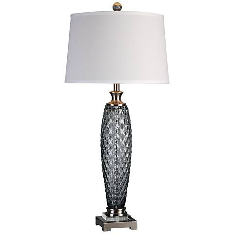Uttermost Lonia Smoke Gray Embossed Glass Table Lamp