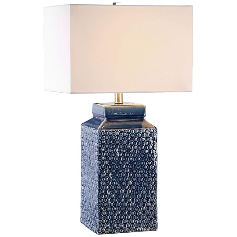 Uttermost Pero Sapphire Blue Textured Ceramic Table Lamp