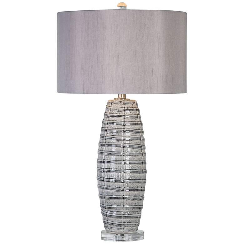 Uttermost Brescia Smoke-Gray Ribbon Ceramic Table Lamp