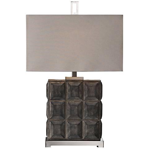 Uttermost Kastoria Rusty-Bronze Stacked-Block Table Lamp