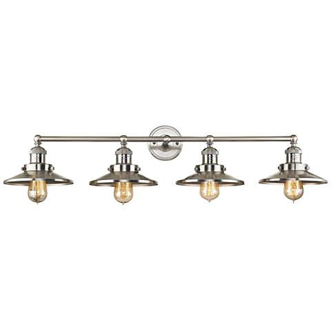 "English Pub 38"" Wide Satin Nickel 4-Light Bath Light"