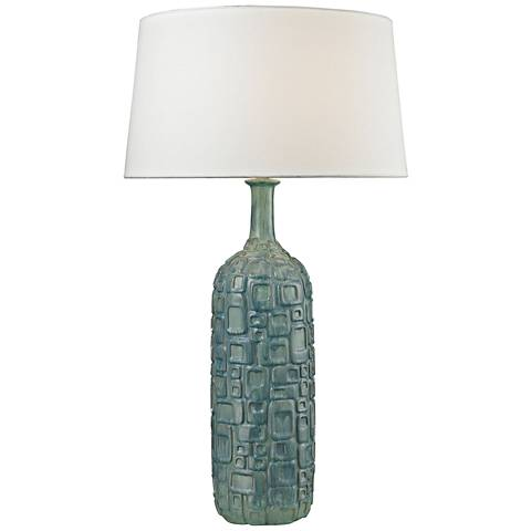 Bordeaux Cubist Bottle Blue and Green Ceramic Table Lamp