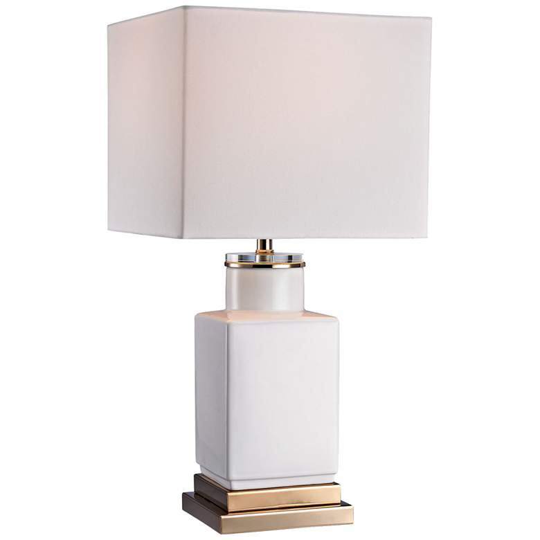 Dunbar Small Cube Gloss White Ceramic Table Lamp