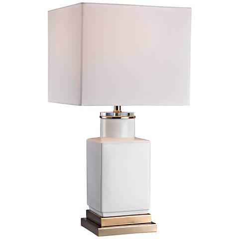 Dimond Dunbar Small Cube Gloss White Ceramic Table Lamp