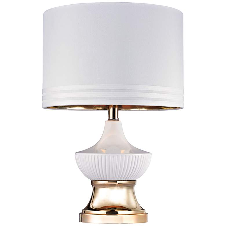 Gloria Ribbed Genie Gloss White and Gold Table Lamp