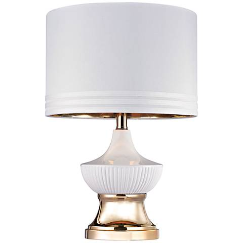 Dimond Gloria Ribbed Genie Gloss White and Gold Table Lamp
