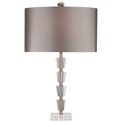 Kingswell Stacked Crystal Bud Vase Clear and Gold Table Lamp