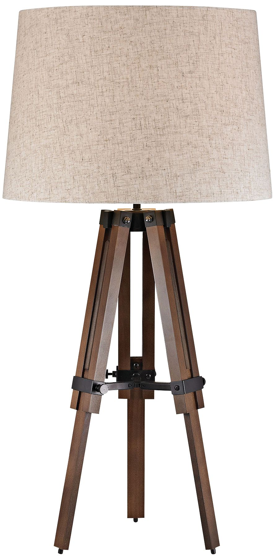 Amazing Benedict Wooden Brace Walnut And Bronze Tripod Table Lamp