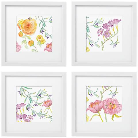 "Set of 4 Spring Garden 14"" Square White Framed Wall Art"