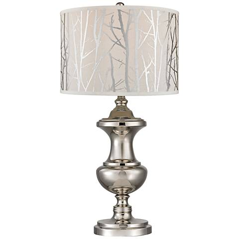 Kenter Spun Polished Nickel with Printed Shade Table Lamp