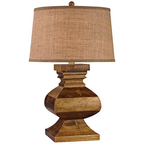 Dimond Penmar Carved Wood Post Dark Russian Oak Table Lamp