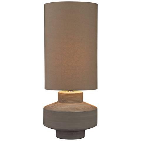 Gilmore Geometric Brutalist Gray Clay Ceramic Table Lamp