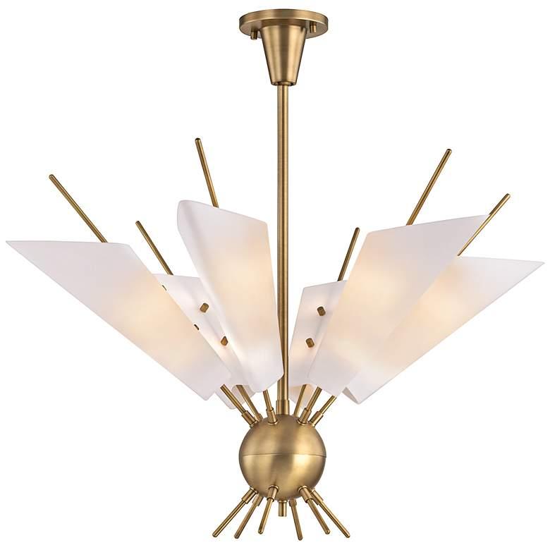 """Cooper 32 1/4"""" Wide Aged Brass 12-Light LED Chandelier"""