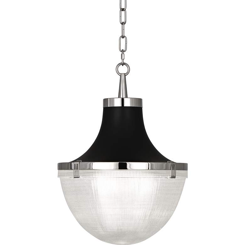 "Brighton 13""W Polished Nickel and Matte Black Pendant"