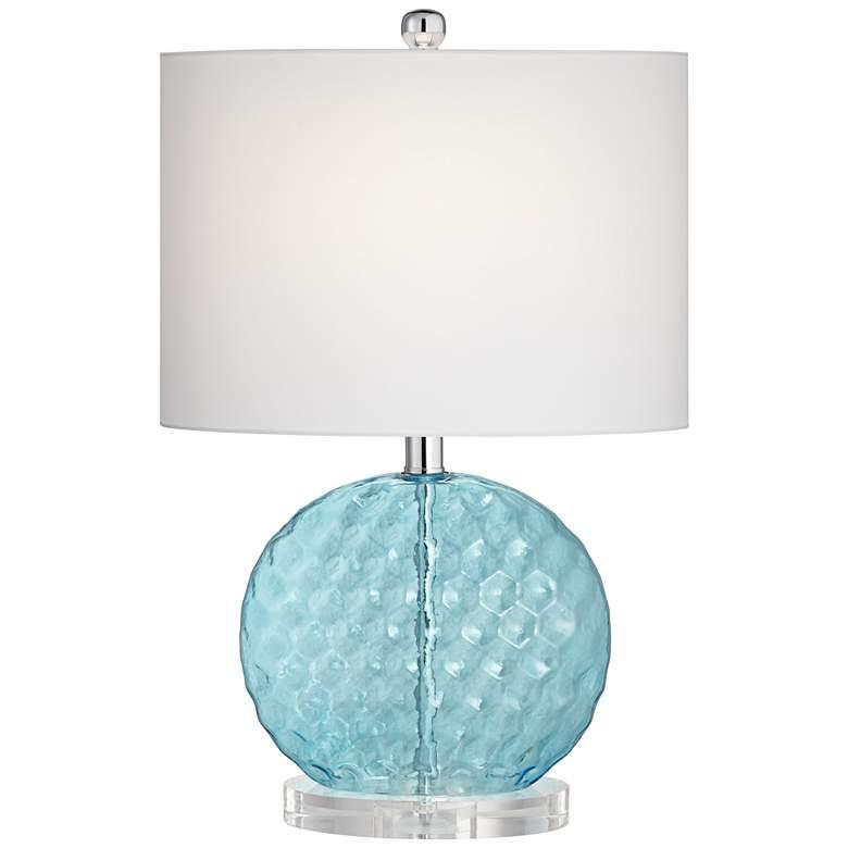 Nancy Wavy Blue Glass Table Lamp
