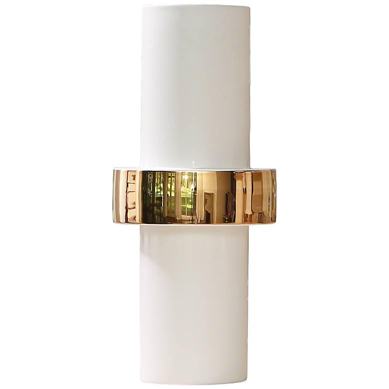 "Sensei White and Gold 13 1/2""H Middle-Ring Ceramic Vase"