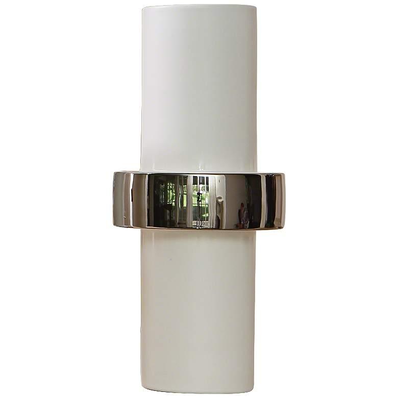 "Sensei White-Silver 13 1/2"" High Middle-Ring Ceramic Vase"