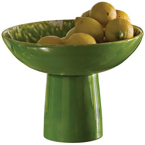 Verde Villa Large Matcha Ceramic Footed Bowl