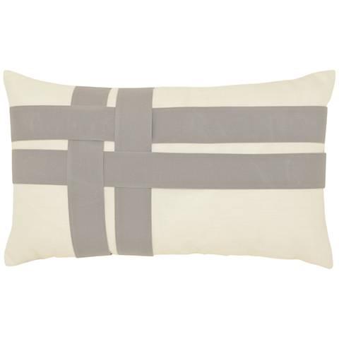 "Elaine Smith Woven Plaid 20""x12"" Indoor-Outdoor Pillow"