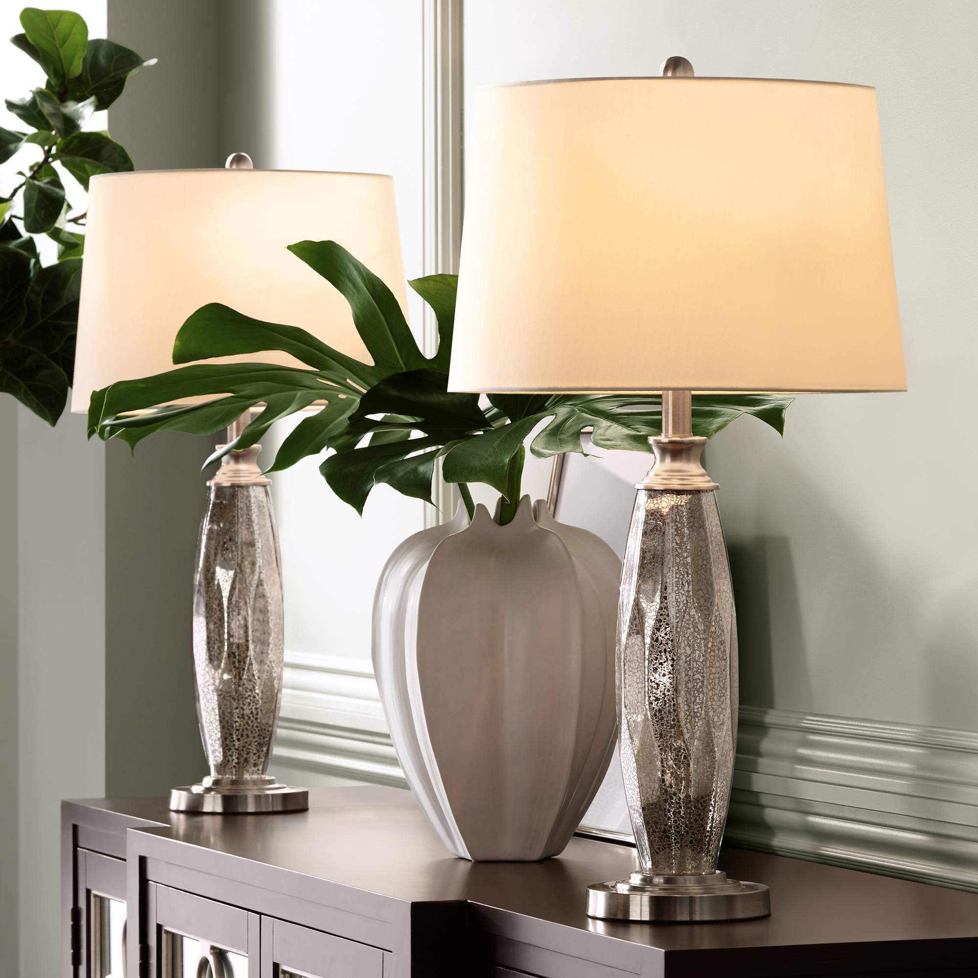 Modern Table Lamps Set of 2 Mercury Glass Brushed Nickel for Living ...