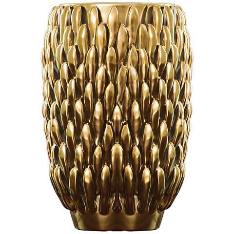 "Chrysanthemum Matte Gold 11 1/2"" High Small Ceramic Vase"