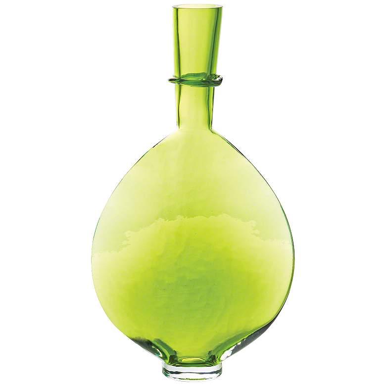 """Prescience Lime 16 3/4"""" High Modern Glass Ring Bottle"""