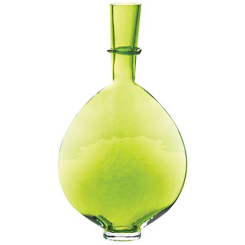 "Prescience Lime 16 3/4"" High Glass Ring Bottle"