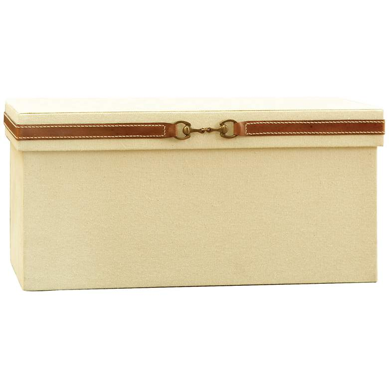 """Stirrup Canvas and Brown Leather 15 1/4""""W Large Storage Box"""