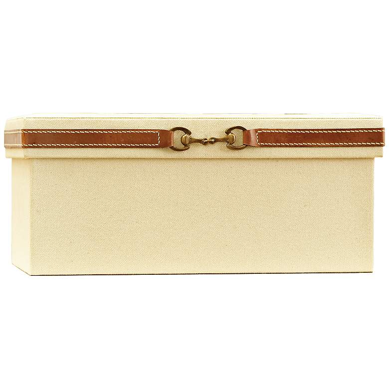 "Stirrup Canvas and Brown Leather 12 1/4""W Medium Storage Box"