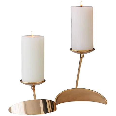 "Goleta Polished Brass ""S"" Pillar Candle Holder"