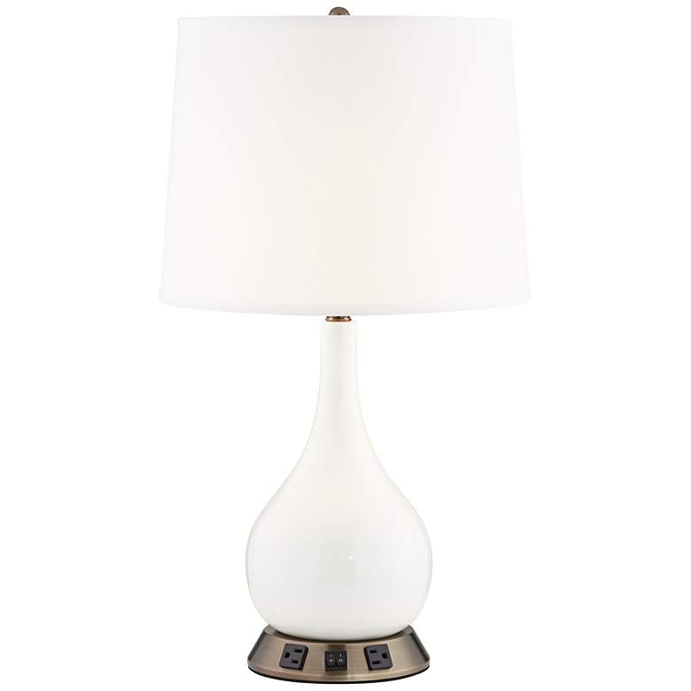 "9W906 - 28"" Double Socket White Resin Table Lamp w/2 Outlets"
