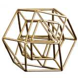 "Geo 9 1/2"" Wide Gold Iron Modern Sculpture"