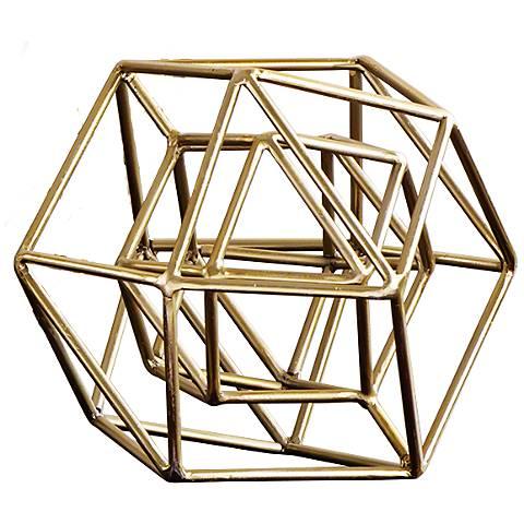 """Geo 9 1/2"""" Wide Gold Iron Sculpture"""