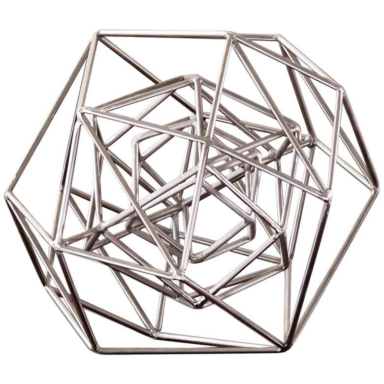"""Geo 14 1/4"""" Wide Nickel Iron Modern Sculpture"""
