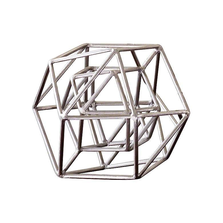 """Geo 9 1/2"""" Wide Nickel Iron Modern Sculpture"""